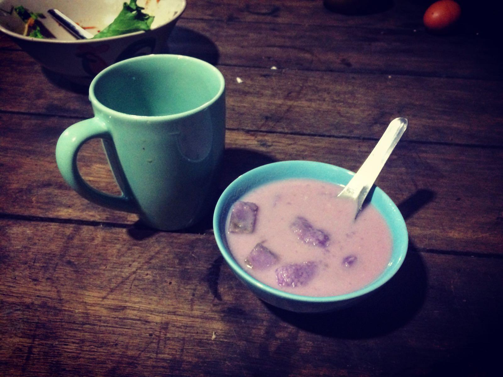 Purple Soup for dessert.
